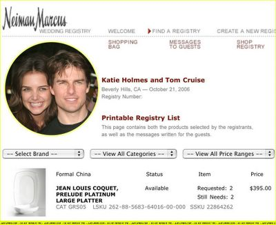 Tomcruisekatieholmesweddingregistry